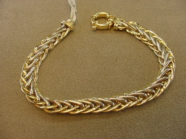3008: 14K YELLOW AND WHITE GOLD BRACELET