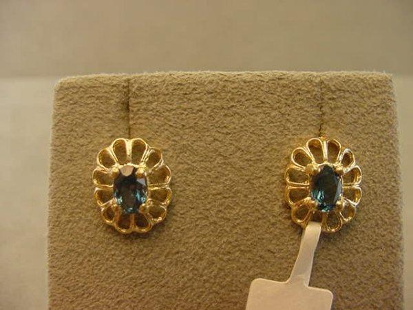 3012: 14K GOLD BLUE TOPAZ EARRINGS