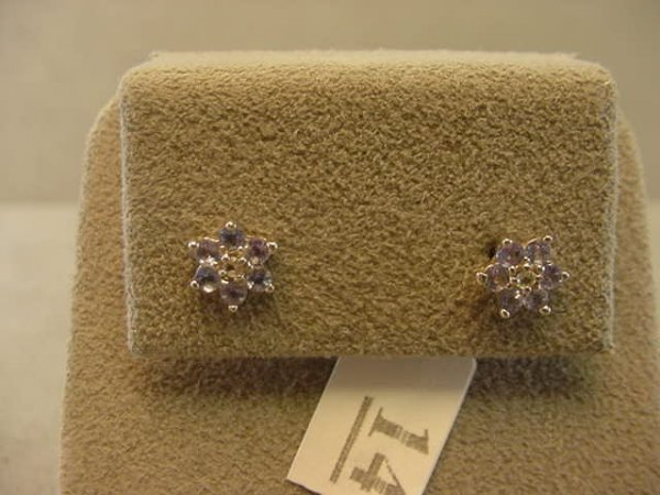 3014: 14K WHITE GOLD TANZANITE AND DIAMOND EARRINGS