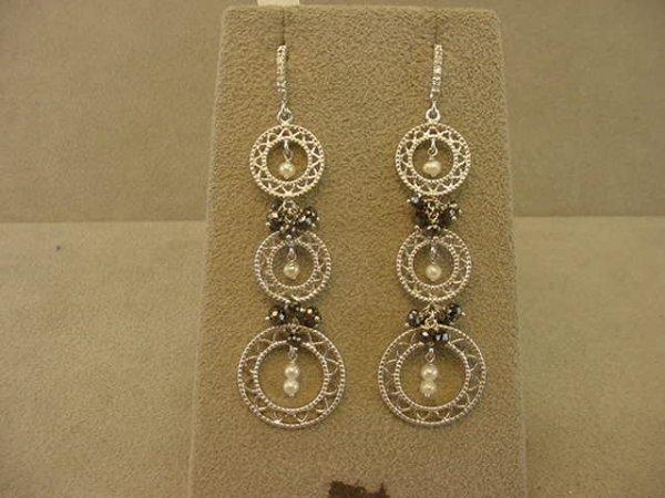 3020: 18K WHITE GOLD WHITE AND BLACK DIAMOND EARRINGS