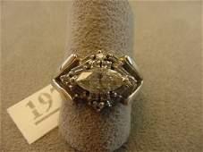 3197: 14K WHITE GOLD MARQUISE DIAMOND RING