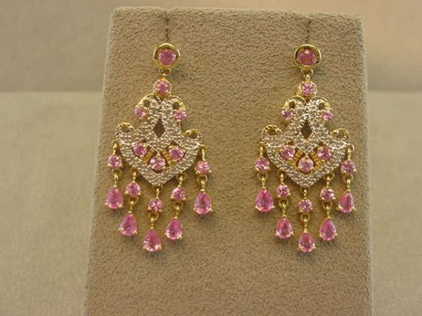 3273: 14K GOLD PINK SAPPHIRE AND DIAMOND EARRINGS