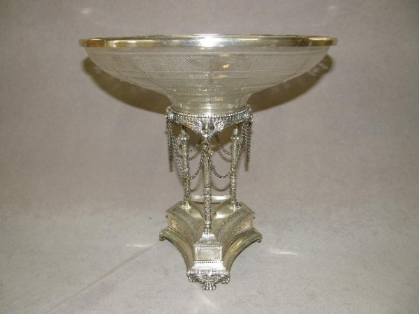 4013: CUT GLASS BOWL ON ORNATE SILVERPLATED BASE