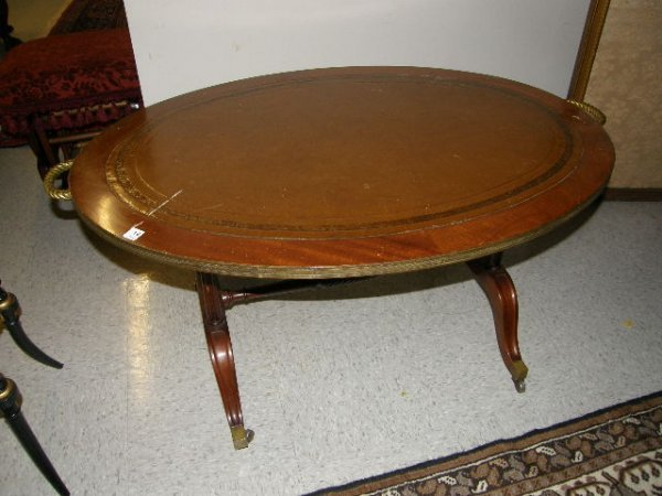 4012: LEATHER TOP MAHOGANY COFFEE TABLE