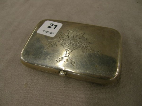4021: HALLMARKED .84 SILVER HINGED BOX DATED 1893
