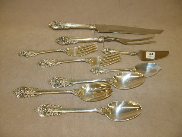 4034: 9 WALLACE GRAND BAROQUE STERLING SERVING PIECES