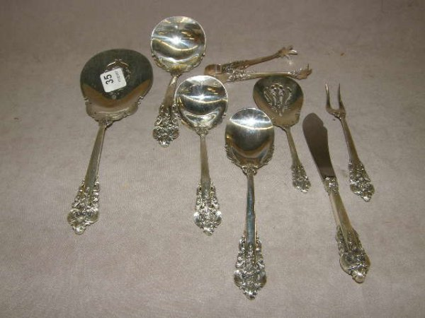4035: 8 WALLACE GRAND BAROQUE STERLING SERVING PIECES