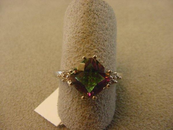 6001: 14K WHITE GOLD MYSTIC TOPAZ AND DIAMOND RING