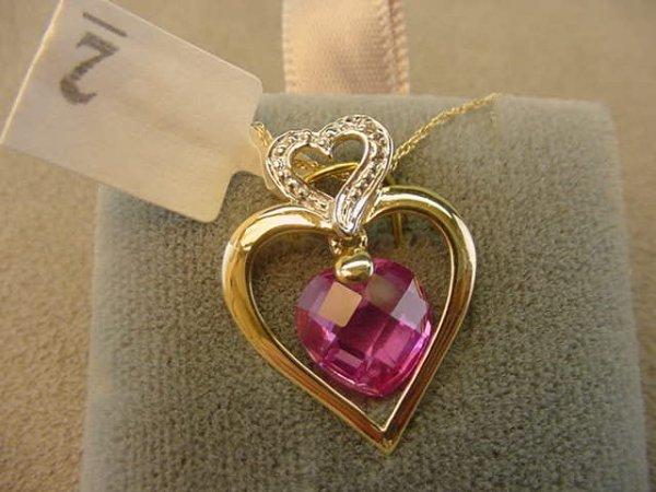 6002: 10K GOLD PINK SAPPHIRE AND DIAMOND HEART PENDANT