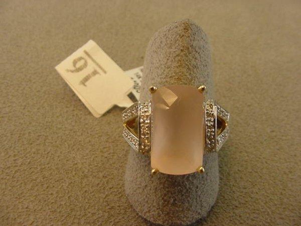 6016: 14K GOLD ROSE QUARTZ AND DIAMOND RING