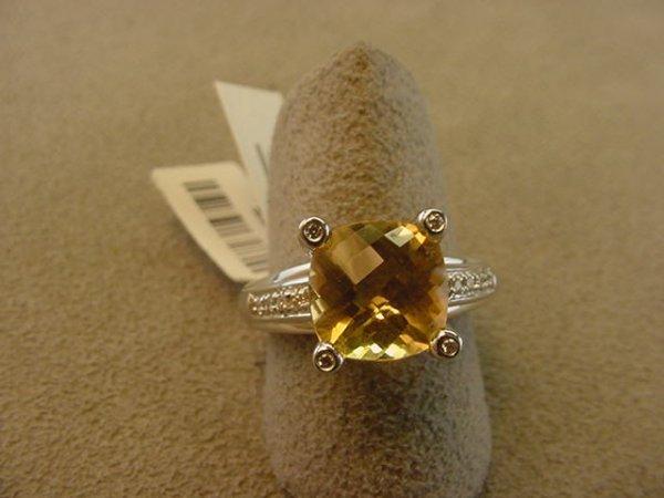 6017: 14K WHITE GOLD CITRINE AND DIAMOND RING