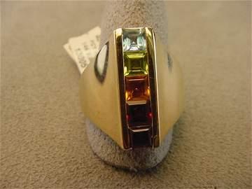 6222: 14K GOLD TOPAZ, PERIDOT, AMETHYST, GARNET RING