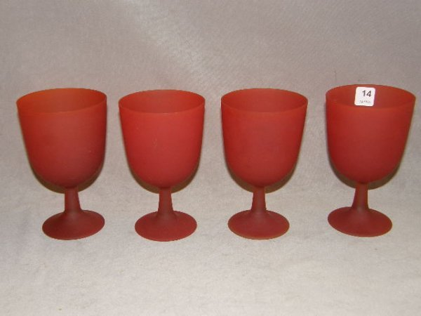8014: 4 RED GLASS GOBLETS