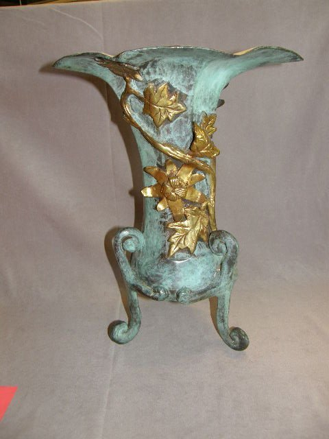 8021: LARGE PATINATED BRONZE VASE