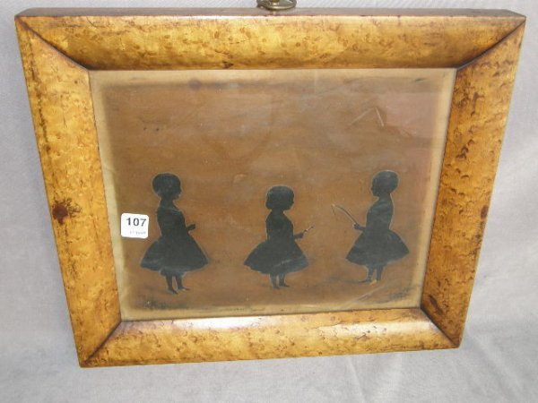 8107: BIRDSEYE MAPLE FRAMED SILHOUETTES DATED 1854