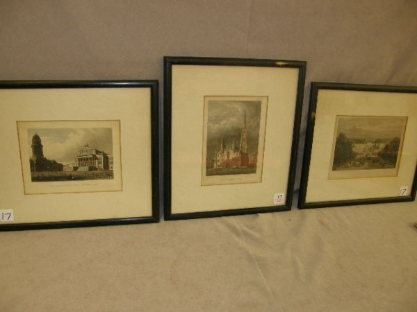 8017: 3 FRAMED COLORED ENGRAVINGS