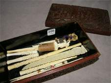 8206 ORIENTAL BOX WITH CARVED IVORY ITEMS ETC