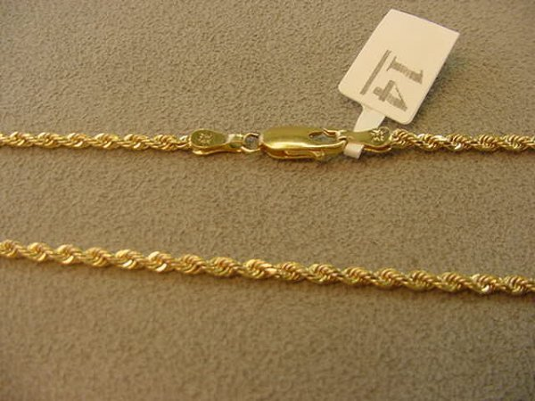 1014: 1 20 INCH 14K GOLD TWISTED ROPE STYLE CHAIN