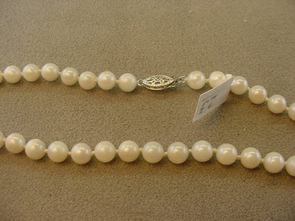"1023: 16"" STRAND CULTURED PEARLS - 14K WHITE GOLD CLASP"