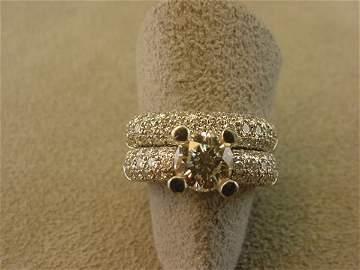 1228: 2 PIECE 18K WHITE GOLD DIAMOND WEDDING RING