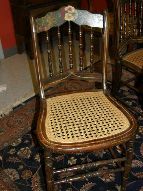 2206: 6 DECORATED CANE SEAT CHAIRS