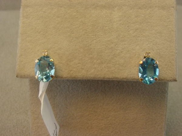 4003: 10K GOLD BLUE TOPAZ AND DIAMOND EARRINGS