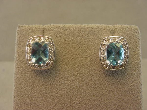 4005: 10K WHITE GOLD BLUE TOPAZ AND DIAMOND EARRINGS