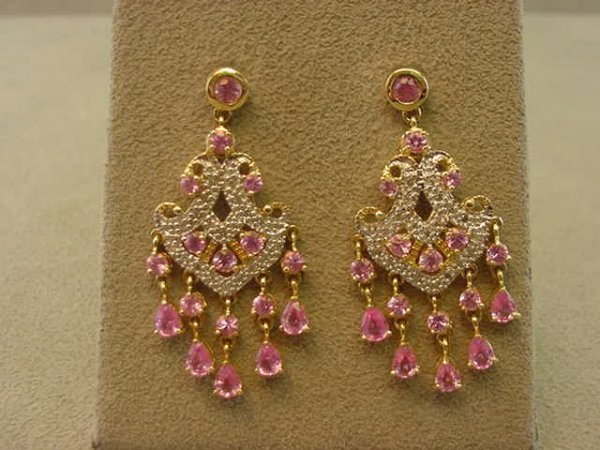 4225: 14K GOLD PINK SAPPHIRE AND DIAMOND EARRINGS