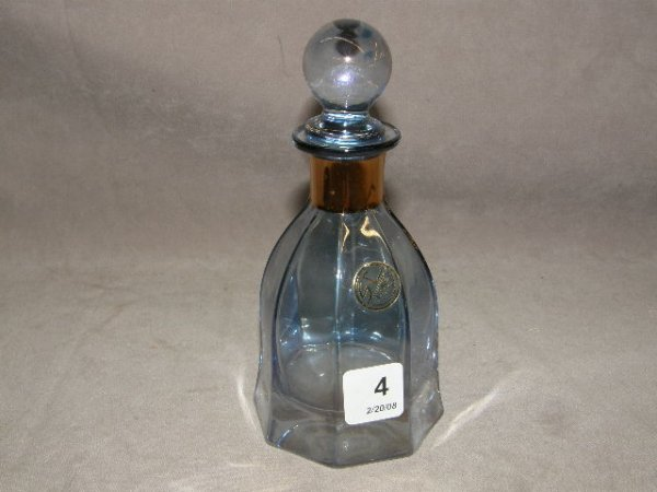 5004: ITALIAN IRIDESCENT GLASS BOTTLE WITH STOPPER