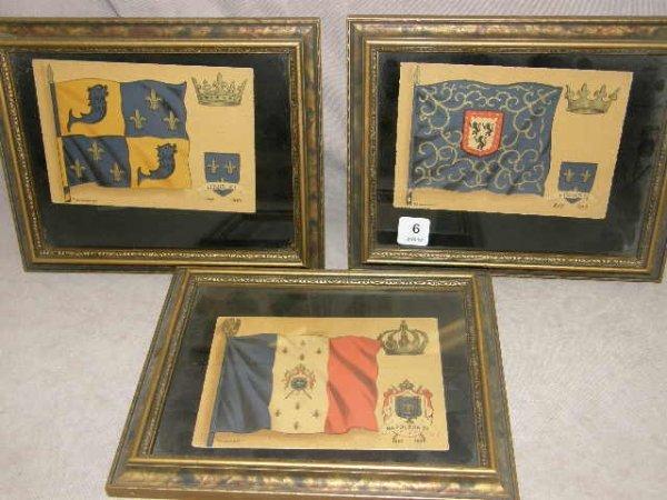 5006: 3 HAND DECORATED FLAG ITEMS -NAPOLEON, LOUIS