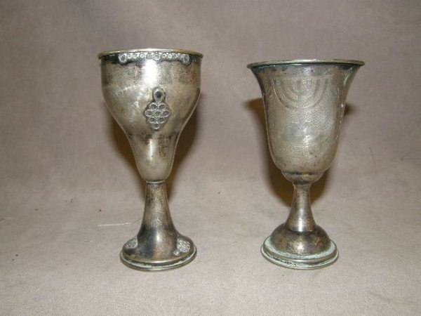 3190: 2 SILVER GOBLETS