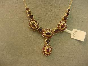 1 16 INCH 14K GOLD NECKLACE SET WITH GARNETS