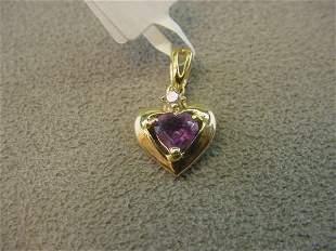 10K GOLD CUBIC ZIRCONIA HEART PENDANT