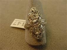 1147: ANTIQUE 18K WHITE GOLD DIAMOND RING