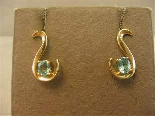 14K GOLD BLUE STONE EARRINGS (APATITE?)