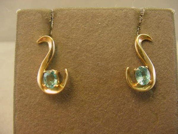 3001: 14K GOLD BLUE STONE EARRINGS (APATITE?)