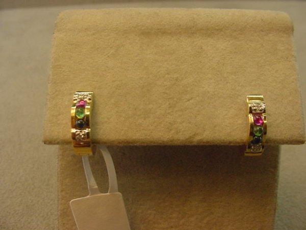 3007: 14K GOLD RUBY, EMERALD, SAPPHIRE EARRINGS