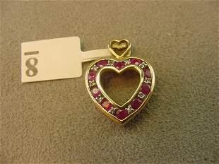 10K GOLD RUBY AND DIAMOND HEART PENDANT