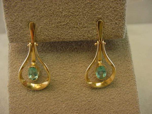3009: 14K GOLD BLUE/GREEN STONE EARRINGS