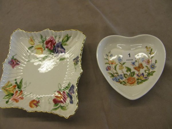4001: 2 BONE CHINA TRAYS -HAMMERSLY & AYNSLEY