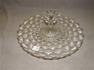 DEPRESSION GLASS HANDLED SERVING TRAY
