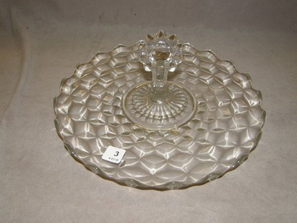4003: DEPRESSION GLASS HANDLED SERVING TRAY