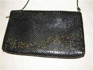 WHITING & DAVIS BLACK MESH CLUTCH WITH STRAP