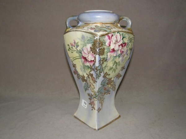 4010: FLORAL DECORATED HANDLED PORCELAIN VASE