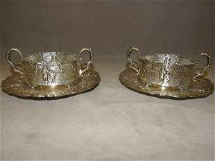 2 ORNATE SILVERPLATED CUP FRAME & SAUCERS