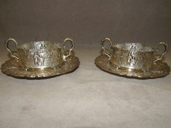 4017: 2 ORNATE SILVERPLATED CUP FRAME & SAUCERS