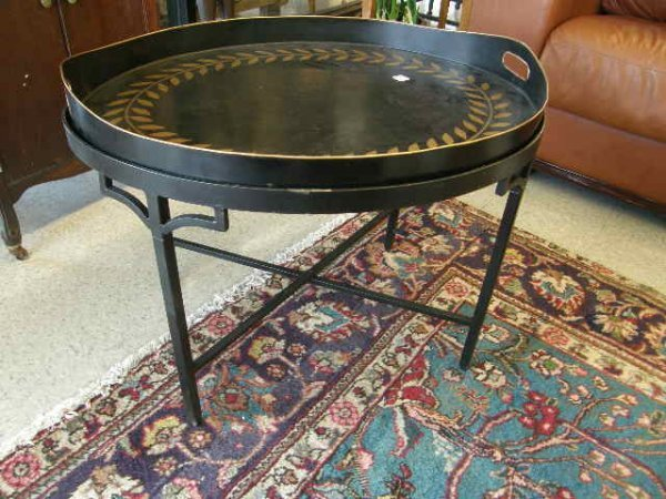4170: PAINTED TOLE TRAY ON CAST IRON TABLE BASE