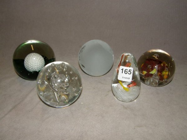 5165: 5 ASSORTED PAPERWEIGHTS -.