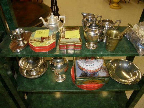 5166: GROUP OF MISC METAL ITEMS, CHINA, TINS, ETC. - .