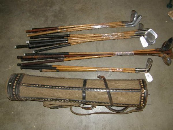 5177: 20 WOOD, ETC SHAFTED GOLF CLUBS IN CANVAS BAG -.